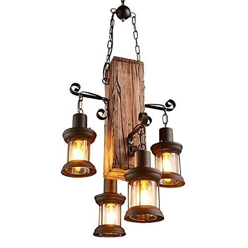 Suytan Lámpara Colgante 4 Luces Loft Lámpara de Madera con Lámpara Colgante de Metal Y Vidrio Lámpara de Techo