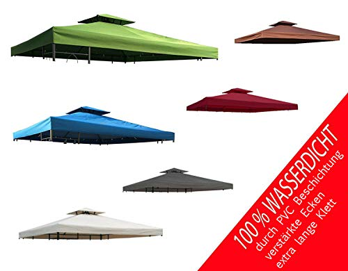 habeig Ersatzdach 340g/m² Dach EXTRA STARK PVC Beschichtung Pavillondach 100% Wasserdicht Pavillon 2,98x2,98m (knapp 3x3m) NEU (Anthrazit)