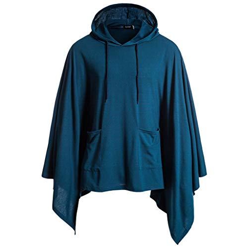Honestyi Homme Cape Sweat à Capuche Couleur Unie Couture Tops Irrégulière Automne Manteau ave Poche Pullover Hip Hop Sport Hoodies Épissage Vogue Blouse Sweat-Shirt