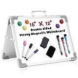 NUOBESTY Pizarra de dos lados, 1 juego de 40 x 30 cm, pequeña pizarra plegable de mesa, borrable en seco, para niños, estudiantes, pizarras blancas, caballete, planificador, personal para