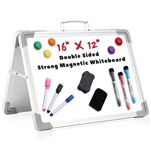 Stobok - Pizarra blanca doble cara 1 conjunto de 40 x 30 cm pequeña pizarra blanca para escritorio plegable de borrado en seco para niños estudiantes, cuadros blancos, caballete profesor planificador