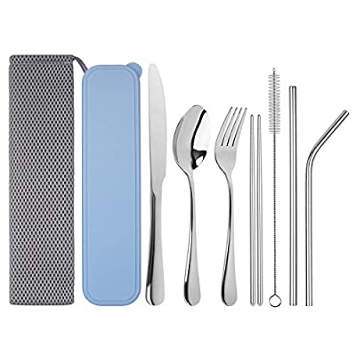 Travel Utensils, Tifanso Reusable Utensils with Case, Portable Travel Camping Cutlery Set, 9-Piece including Knife Fork Spoon Chopsticks Cleaning Brush Metal Straws, Stainless Steel Flatware Set
