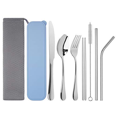 Travel Utensils Tifanso Reusable Utensils with Case Portable Travel Camping Cutlery Set 9-Piece including Knife Fork Spoon Chopsticks Cleaning Brush Metal Straws Stainless Steel Flatware Set