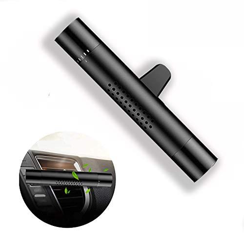 Ecotal Premium Auto Lufterfrischer/Duft-Spender für Lüftungsgitter aus Aluminium mit 5 verschiedenen Duftstäbchen oder für eigene Duftöle – automatische Verteilung durch Klimaanlage (schwarz)