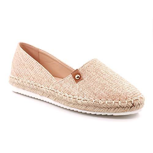 Angkorly - Damen Schuhe Espadrille - Strand - Slip-on - Böhmen - mit Stroh - Geflochten - Nieten-Besetzt Flache 3 cm - Pink 11 LX-59 T 37