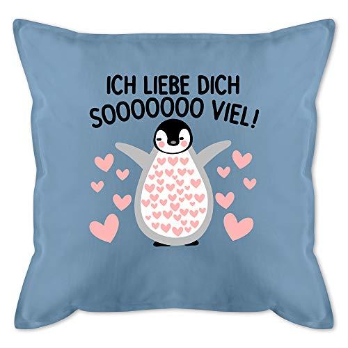 Shirtracer Valentinstag Kissen - Ich Liebe Dich Soooo viel! mit Pinguin - Unisize - Hellblau - ich Liebe Dich Geschenk Kissen - GURLI Kissen mit Füllung - Kissen 50x50 cm und Dekokissen mit Füllung