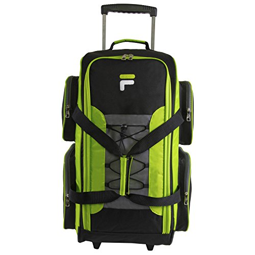 Fila 26' Lightweight Rolling Duffel Bag, Neon Lime, One Size