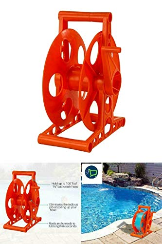 """Swimming Pool Backwash Discharge Hose Reel ONLY - Fits 100' x 1-1/2"""" Hose New"""