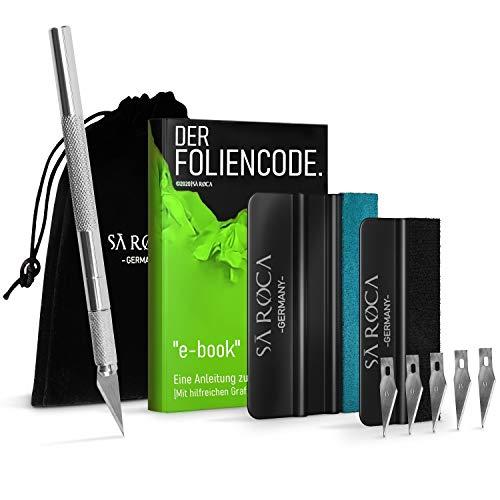 SA ROCA® Folienrakel Set mit Präzisionsmesser – inkl. Tasche & eBook mit Profitipps I Rakel für Folie mit Leder- & Filzrakel I Hochwertiges Rakel-Set zum Folieren I Werkzeug für schonende Folierung
