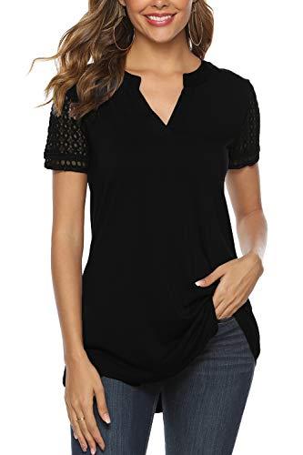 Zattcas Women's Summer V Neck Short Sleeve Tunic Shirt Business Casual Blouses for Women Black Medium