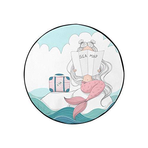Bolsa para llantas de repuesto Maleta digital de sirena Lost Sea Cubiertas para ruedas de remolque Cubiertas de ruedas de camper a prueba de polvo portátiles de moda para Jeep Trailer Rv Suv y la may