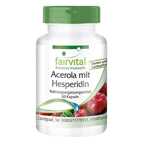 Acerola con Hesperidina - VEGANO - 60 Cápsulas - con la vitamina C y extracto de semilla de pomelo - Calidad Alemana