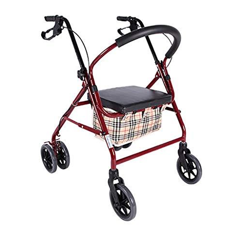 Silla de ruedas Walker plegable | Silla de asistencia de ruedas multifuncional adecuada para ancianos, mujeres embarazadas y niños con función de freno y bolsa de almacenamiento | (patrón a cuadros) 3