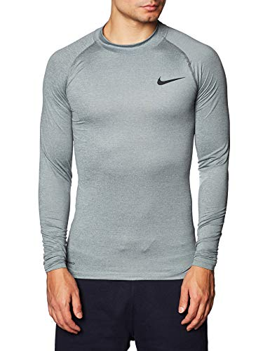 Nike M NP Top Ls Tight Mock T-Shirt à Manches Longues pour Homme M Gris, Noir (Smoke Grey/lt Smoke Grey/Black)