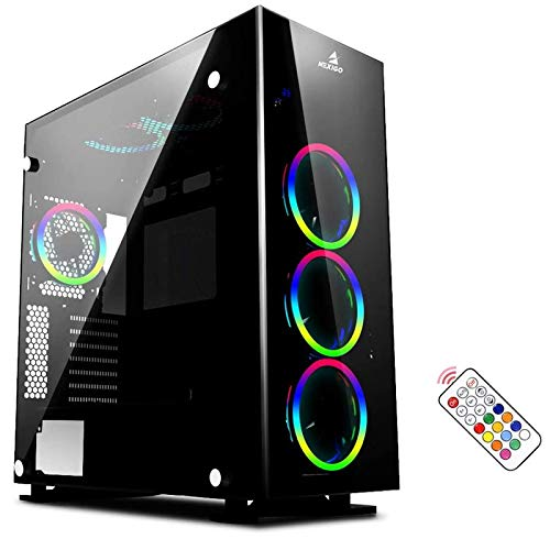 NexiGo Stellar Black ATX Mid-Tower Desktop Computer Gaming Case, Tempered 4-Sided Glass Panels, Pre-Installed 120mm LED RGB Fans with Remote Controller, 360mm Liquid Cooling Support