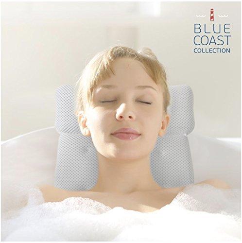 Rousset Luxus Badewannenkissen für Badewanne und Whirlpool! Premium Wellness Kissen für Komfort mit weichen Fasern & großen Saugnäpfen, leicht zu reinigen & geruchsresistentes Kissen für Jacuzzi mit Mesh-Technologie für schnelles & leichtes trocknen. Verwöhnen Sie sich noch heute!