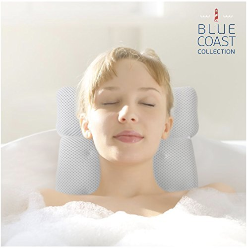 Blue Coast Collection–Bath Pillow for Tub with Konjac Sponge–Large Size for Bathtub, Hot Tub, Jacuzzi, and Home Spa–Non-slip Luxury Support for Head, Neck, Back and Shoulders, 6 Strong Suction Cups