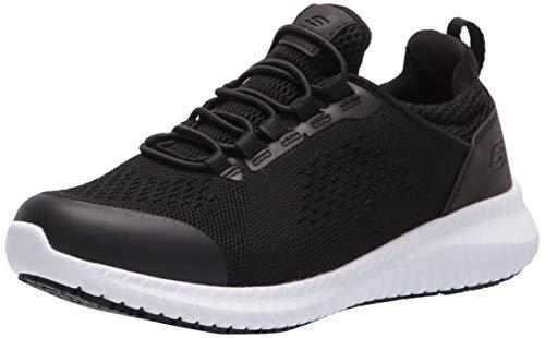 Skechers Women's Cessnock Carrboro Food Service Shoe, Black White, 7.5 Wide