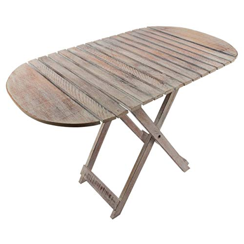 Divero Vintage Beistelltisch Blumen-Tisch Kindertisch aus Durian-Holz klappbar White Washed L 85 cm x B 50 cm x H 59