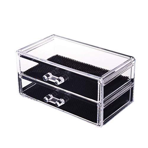 Créatif Durable Haute Qualité Exquis 2 couches bijoux et cosmétiques stockage tiroirs boîte de maquillage vitrine en plastique vanité comptoir Maquillage de Pique-nique Titulaire cosmétiques