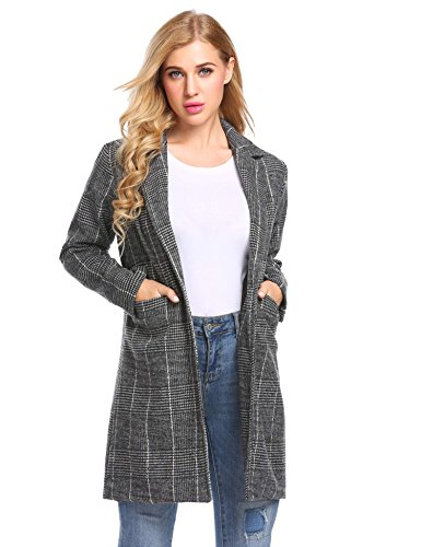 Zeagoo Women Lapel Plaid Long Trench Coat Wool Blended Jacket Cardigan Black