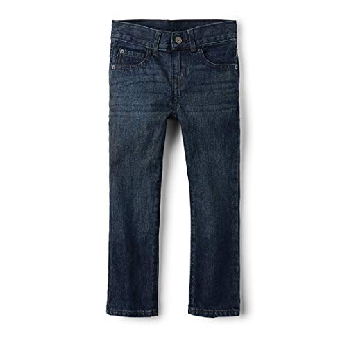 The Children's Place Big Boys' Straight Leg Jeans, Deep Blue, 4 Slim