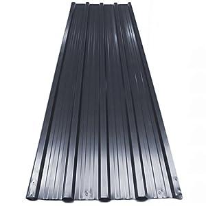 Deuba Set de 12 chapas perfiladas gris de 7m² 129 x 45 cm para techo o pared exterior bricolaje paneles para tejado