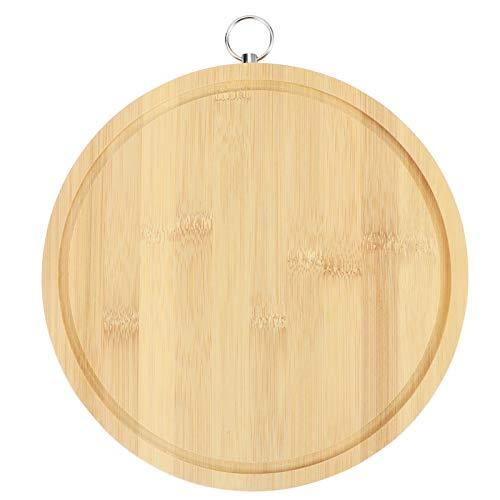 Tabla de cortar de bambú redonda Panel de amasar Tabla de cortar de verduras con fregadero Accesorios de cocina antibacterianos para el hogar Hotel(39x1.7cm/15.4x0.7in)