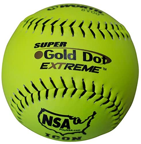 Worth NSA 12 inch Gold Dot Extreme Slowpitch Softball Balls, NI12CY