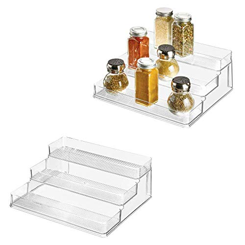 iDesign Linus Plastic Stadium Spice Rack Set, BPA-Free 3-Tiered Organizer for Kitchen, Pantry, Bathroom, Vanity, Office, Craft Room Storage Organization, Set of 2, Clear