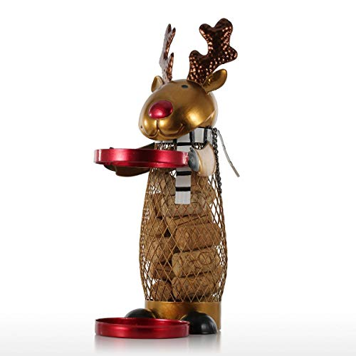 DeepBlue Netted Xmas Reindeer Wine Rack Animal Wine Holder Cork Container Practical Crafts for Xmas Decoration