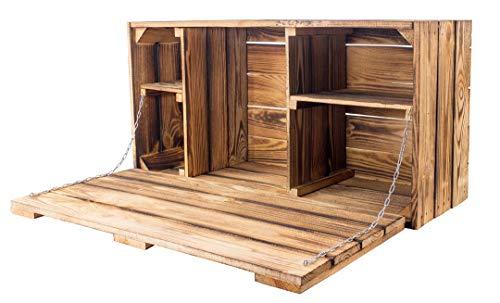Moooble stabile geflammte Holzkiste, schön als Hängeschrank antik mit Klapptür | 81x41x31cm | Neu | für Unterlagen oder auch als Hängebar