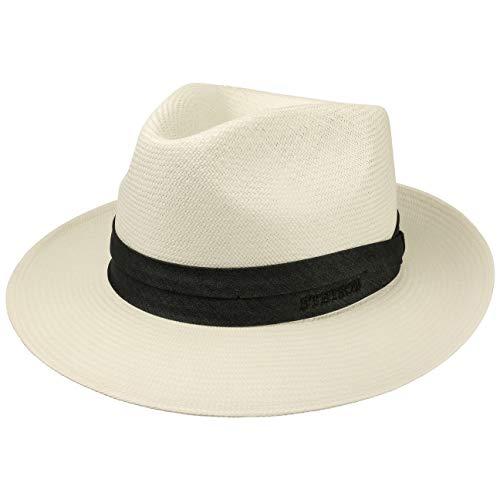 Stetson Chapeau Jenkins Bleached Panama Homme - Made in Italy de Soleil D'Ete pour avec Ruban Gros Grain Printemps-ete - 55 cm Blanc Creme