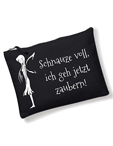 Make up Tasche Schnauze voll Kosmetiktasche mit coolem Spruch Schnauze voll Bedruckt Kulturbeutel schwarz Waschtasche Schminktasche
