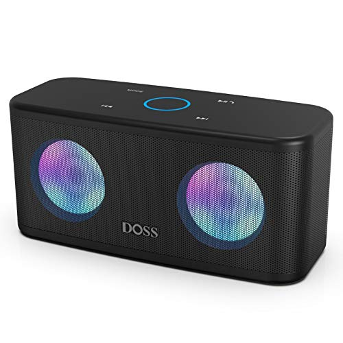 DOSS SoundBox Plus Altavoz Bluetooth Portátil con Sonido HD, Bajos Potentes,Sonido Estéreo TWS, Micrófono, Manos Libres, y 20 Horas de Reproducción para Huawei, Xiaomi-Negro