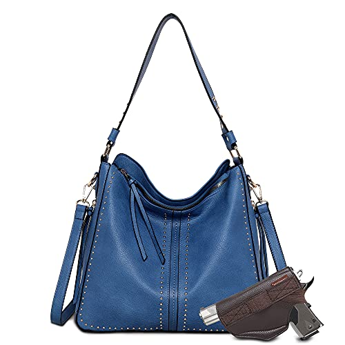 Montana West Tote Bag for Women Large Concealed Carry Purses and Handbags Faux Leather Hobo Bags Shoulder Bag with Crossbody Strap and Gun Holster B2B-MWC-G1001 BLUE