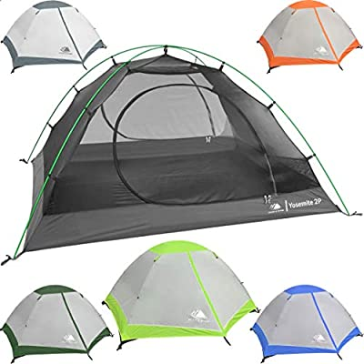 2 Person Backpacking Tent with Footprint - Lightweight Yosemite Two Man 3 Season Ultralight, Waterproof, Ultra Compact 2p Freestanding Backpack Tents for Camping and Hiking by Hyke & Byke (Lime Green)