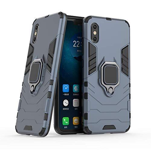 DWaybox Custodia for Xiaomi Mi 8 PRO Ring Holder Iron Man Design 2 in 1 Hybrid Heavy Duty Armor Hard Back Custodia Cover Compatible with Xiaomi Mi 8 PRO/Mi 8 Explorer 6.21 inch (Dark Blue)