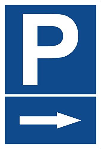 Melis Folienwerkstatt Schild – Pfeil nach rechts – Parkplatzschild Parken – 15x20cm, 30x20cm und 45x30cm – Bohrlöcher Aufkleber Hartschaum Aluverbund -S00273