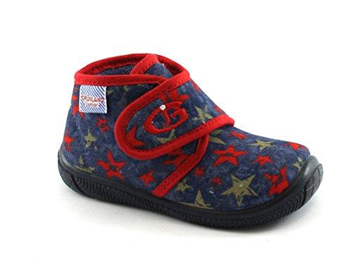 Grunland DIDI PA1018 Blaue Pantoffeln Baby-Gewebe reißen 22