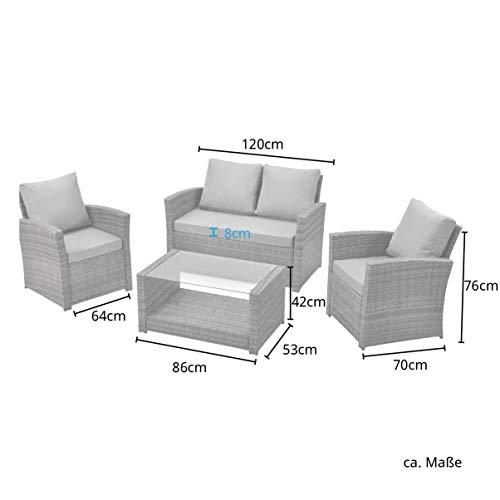 SVITA Roma Polyrattan Lounge Rattan Garten Möbel Set mit Sofa und Sessel Gartenlounge Essgruppe mit Tisch Braun - 6