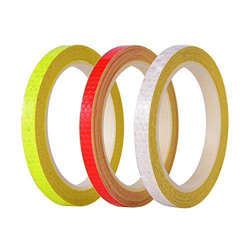 Reflexstreifen 3 Rollen 3 Farben Micro Prismatische Blätter Reflektierende Sicherheitsband, Insgesamt 26 Yards
