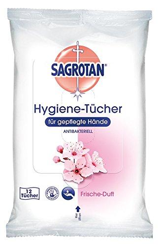 Sagrotan Hygiene-Tücher für gepflegte Hände – In praktischer Reisegröße für die schnelle hygienische Reinigung unterwegs – 15 x 12 Reinigungstücher