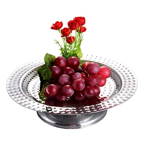 ZGP -plat de fruits Assiette à fruits Assiette à dessert Assiette à dessert en acier inoxydable Marteau Point Avec assiette à gâteau Assiette à gâteaux aux fruits séchés Assiette de fruits multifoncti