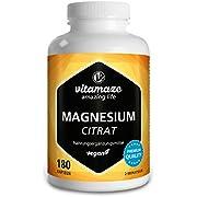 Magnesium-Citrat Kapseln hochdosiert & vegan, 2250 mg davon 360 mg elementares Magnesium pro Tagesdosis, 180 Kapseln für 2 Monate, Natürliches Supplement ohne Zusatzstoffe, Made in Germany