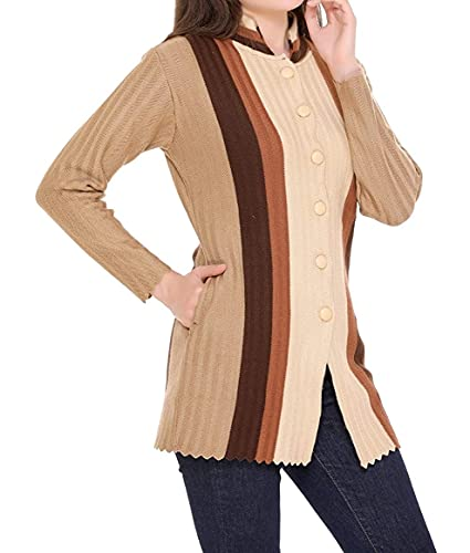 LADY WILLINGTON Women Woolen Band Neck Cardigan Printed Heavy Front Multicolor Printing Daffodil Fabric Cardigan Winter Wear Pure Wool Cardigan for Women Free Size Long Cotty (Brown, XXXL)