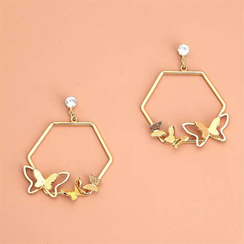 Pendientes de oro para ella, pendientes hexagonales de mariposa, pendientes de diamantes de imitación, elegantes pendientes colgantes para mamá y amigas