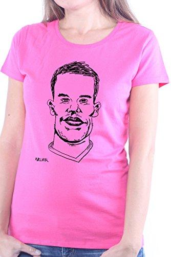 Mister Merchandise Cooles Damen T-Shirt Manuel Neuer, Größe: XL, Farbe: Pink