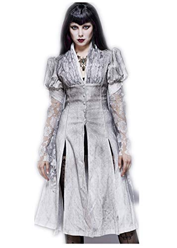 Eva Lady Jumper Jurken voor Vrouwen Victoriaanse Witte Split V hals Kant Mouw Over Knie Trench Mid Tuniek Gothic Klassieke Jurk Tuniek Zwart Plus Size
