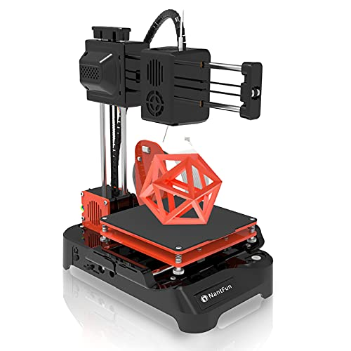 """NantFun DIY 3D Printer for Kids, Mini 3D Printer for Beginners, Upgraded Extruder Technology Small 3D Printer Fast Heating Low Noise with Free PLA Filament Printing Size 4""""×4""""×4"""" Black & Orange"""